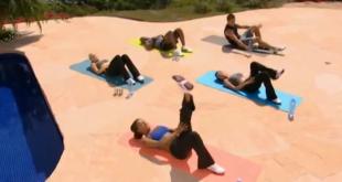 Mel B prezentuje zestaw ćwiczeń na płaski brzuch - piękny kaloryfer godzien rzymskich atletów.