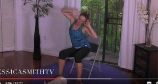 Ćwiczenia wyszczuplające na krześle na ramiona i uda i brzuch
