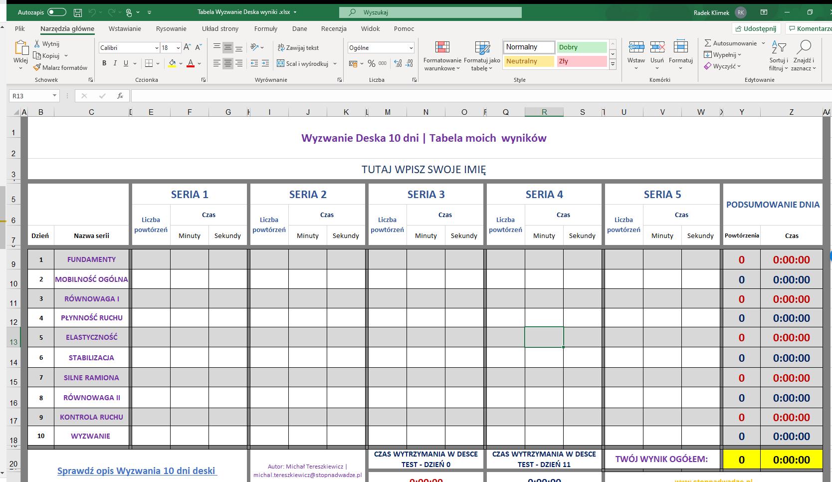 Tabela Excel do wyzwania deski.
